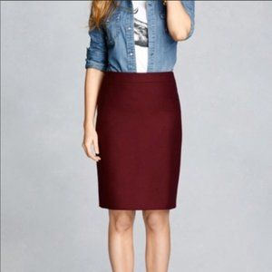 J. Crew The Pencil Skirt in Burgundy